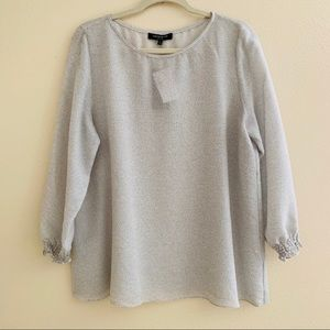 Lafayette 148 Large Marisol Grey Silk Blend Blouse